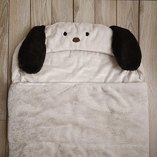 Best Home Fashion Plush Faux Fur Hooded Dog Animal Sleeping Bag - Taupe - 27''W x 59''L - (1 Sleeping Bag) by Best Home Fashion (Image #3)