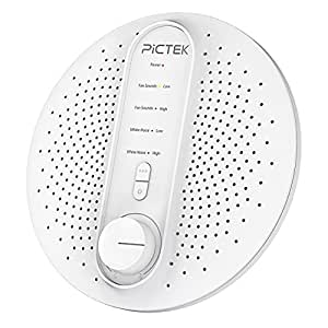 PICTEK White Noise Sound Machine with 12 Non-looping Fan and White Noise Sounds, 3 Timer Options, USB or Battery Operated for Baby, Kids, Insomniac and Traveler (Adapter Not Included)