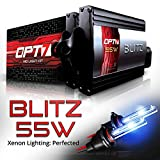 (US) OPT7 Blitz 55w HID Xenon Kit 5x Brighter - 4x Longer Life - All Colors and Sizes Simple DIY Install - 2 Yr Warranty - Bulbs and Ballasts [H11 H8 H9 - 6K Lightning Blue Light]
