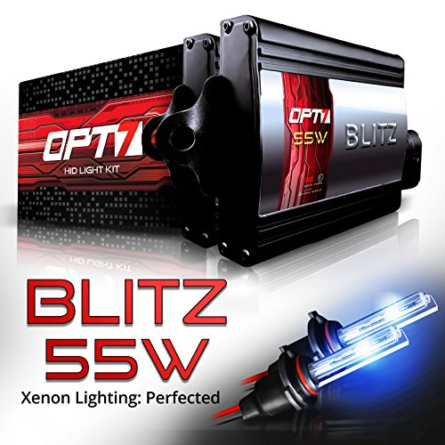 OPT7 Blitz 55w HID Xenon Conversion Kit 5x Brighter - 4x Longer Life - All Colors and Sizes Simple DIY Install - 2 Yr Warranty - Bulbs and Ballasts [H11 H8 H9 - 6K Lightning Blue Light]