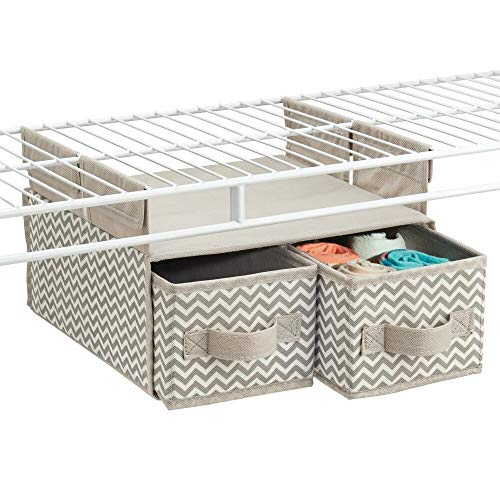 mDesign Soft Fabric Over Closet Shelving Hanging Storage Organizer with 2 Removable Drawers for Closets in Bedrooms, Hallway, Entryway, Mudroom - Chevron Zig Zag Print with Solid Trim - Taupe/Natural