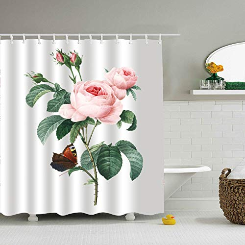 (Nicholas Dunlop Pink Cabbage Roses Large Fabric Shower Curtain for Bathroom - 65