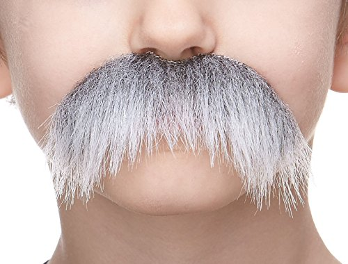 Mustaches Fake Mustache, Self Adhesive, Novelty, Small Walrus False Facial Hair, Costume Accessory for Kids, Gray with White Color