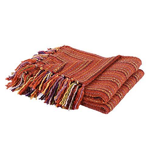 Battilo Woven Colorful Home Decorative Sofa Throw Blanket (Brick Red, 50
