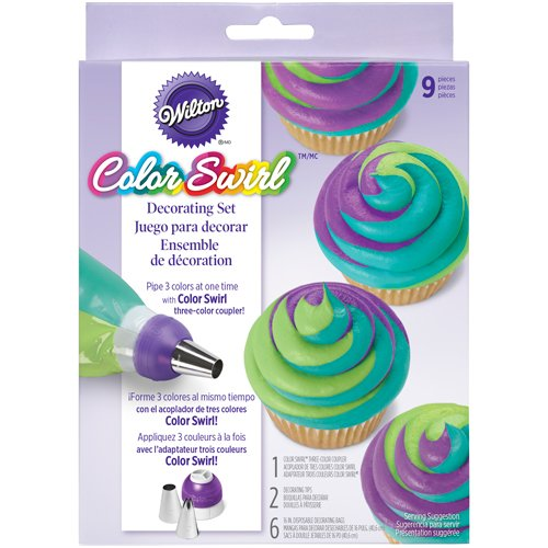 Wilton ColorSwirl 3-Color Coupler 9-Piece Decorating Kit, (Wilton Cake Decorating Color)