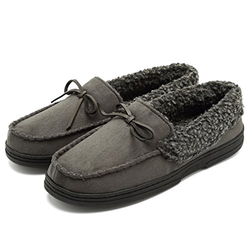 (FANTURE Men's Memory Foam Slipper Suede Faux Fur Lined Indoor & Outdoor Moccasins Slip On-U418WMT006-gray-M-42)