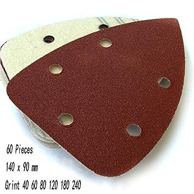 GooGou 60 Pieces Mouse Sander Sanding Sheets Paper Sandpaper Hook Loop Assorted 40/60/80/120/180/240 Grits