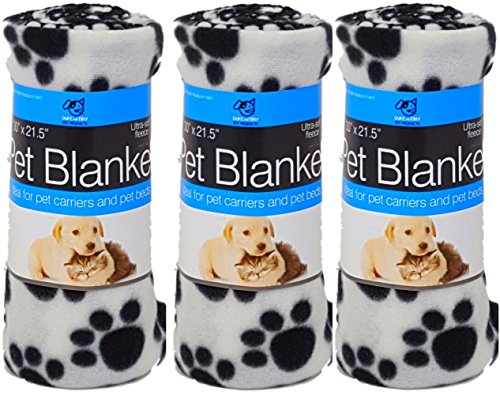 White Dog Blanket (Dogs Love Christmas Too Ultra Soft Three Pack of White Paw Prints Fleece Blankets For Small Dogs and Cats These Pet Blankets are Great For Home and in Your Car Size is 30