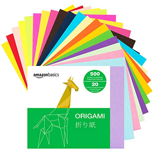 Amazon Basics Origami Paper, Assorted Colors, 500
