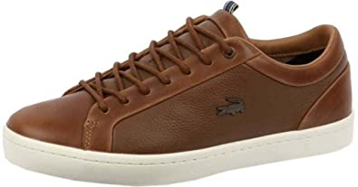 2bd6279a114337 Lacoste Straightset 118 Brown White Leather Mens Trainers Shoes ...