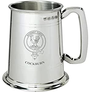 Cockburn Clan Crest Tankard 1 Pint Pewter