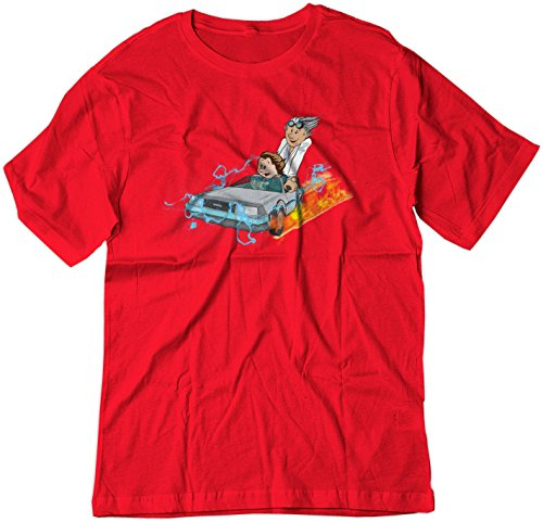 BSW Youth Calvin and Hobbes Back to The Future Delorean Shirt SM Red ()