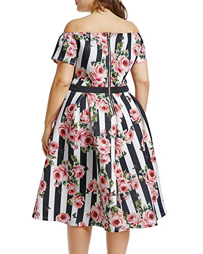 Vintage Rose Women's pink Party Midi Update Cocktail Wedding Swing thick 1950s Dress Lalagen q5dxpOW7q