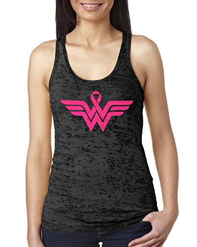 - Breast Cancer Awareness Pink Ribbon Superhero Logo Ladies Burnout Tank Top XX-Large Black
