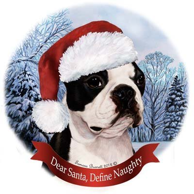 Dog in Santa Hat Porcelain Hanging Howliday Ornament (Boston Terrier) -
