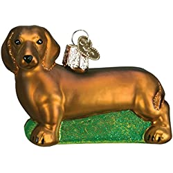 Old World Christmas Glass Blown Ornament with S-Hook and Gift Box, Dog Collection (Dachsund)