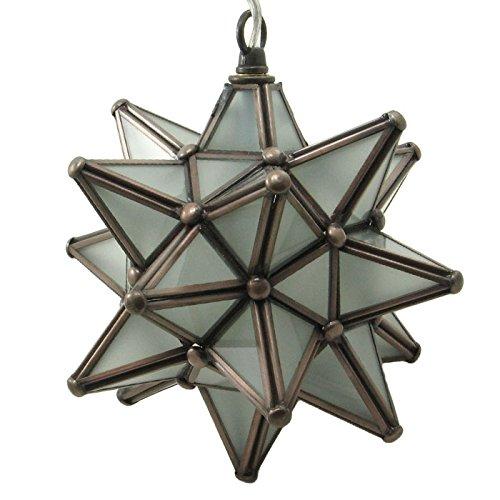 Moravian Star Pendant Light Frosted Glass Bronze Frame 9