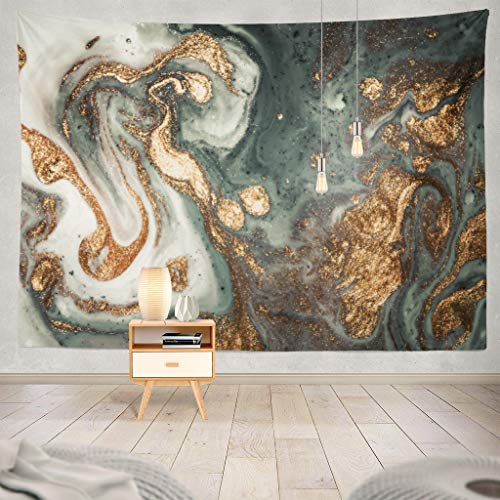KJONG Marble Contemporary Art Golden and Turquoise Acrylic Can Trendy Invitations Decorative Tapestry,60X80 Inches Wall Hanging Tapestry for Bedroom Living Room