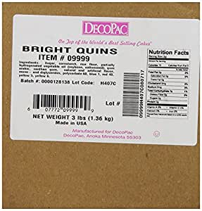 DecoPac Quins, Bright Sequins, 3 Pound