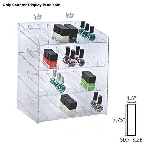 Retail 4-tiered 28 Compartment Cosmetic Counter Display for Pegboard or Slatwall by Cosmetic counter display