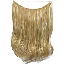 FESHFEN 20 inch Secret Halo Hair Extensions Flip in Curly Wavy Hidden Hair Extension Synthetic Hair Pieces for Women No Clips Full Head Invisible Wire Secret String Transparent Wire Extensions