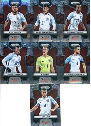2018 Panini Prizm World Cup Soccer England Team Set of 12 Cards: Harry Kane(#62), Alex Oxlade-Chamberlain(#63), Gary Cahill(#64), Jamie Vardy(#65), Dele Alli(#66), Eric Dier(#67), Daniel Sturridge(#68), Joe Hart(#69), Jordan Henderson(#70), Kyle Walker(#71), Marcus Rashford(#72), Raheem Sterling(#73)