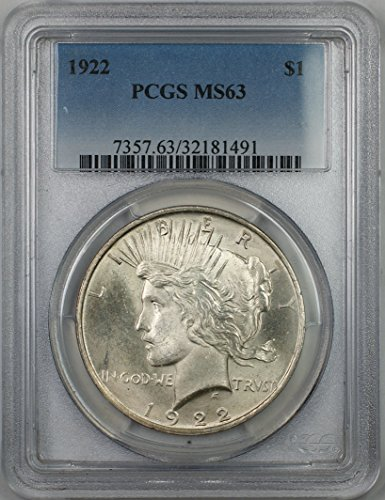 1922 Peace Silver Dollar Coin $1 PCGS MS-63 (1C)