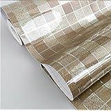 Top Me 45x200cm Kitchen PVC Aluminum Foil Self-adhensive Mosaic Stickers Oil Wallpaper Wall Stickers Bathroom Mirror Waterproof Wall Sticker (Brown)