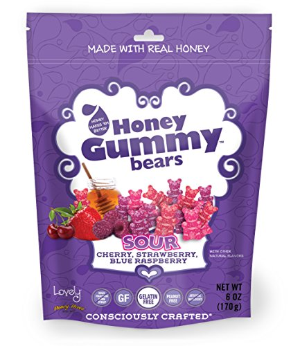 GELATIN-FREE Sour Honey Gummy Bears - Lovely Co. 6oz Bag - Cherry, Strawberry & Blue Raspberry | NO HFCS, Gluten-Free, Peanut-Free & All Real ()