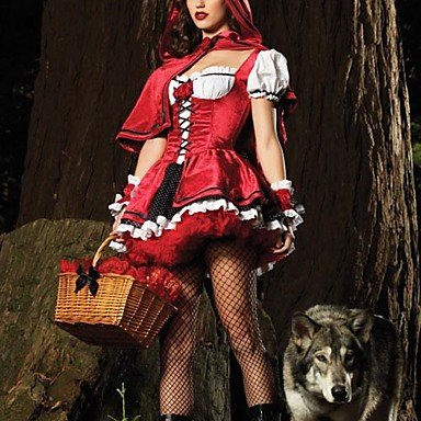 QINF Sexy Adult Little Red Riding Hood Dress Halloween Costume (One Size) for $<!--$43.18-->