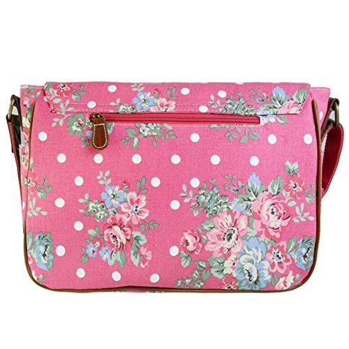 Miss LuLu Crossbody-Tasche Schulranzen Schultasche Tote Bag mit Drucken Damen Herren Canvas (L1157-Blumen/Rosa) L1157-Blumen/Rosa ixWkG