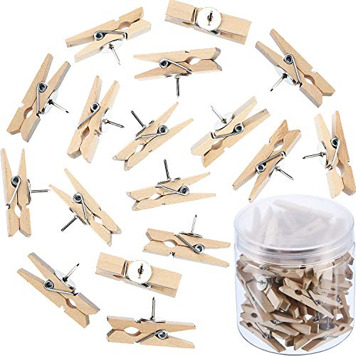 Push Pins with Wooden Clips Pushpins Tacks Thumbtacks for Cork Boards Artworks Notes Photos and Craft Projects (100 Pieces, Nature Color)