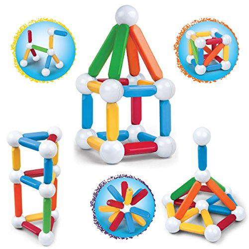 Discovery Kids 25 Piece Magnetic Blocks, Colorful Building B