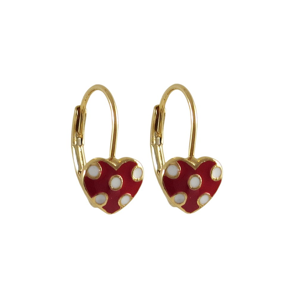 Ivy and Max Gold Finish Red and White Enamel Heart Girls Leverback Earrings