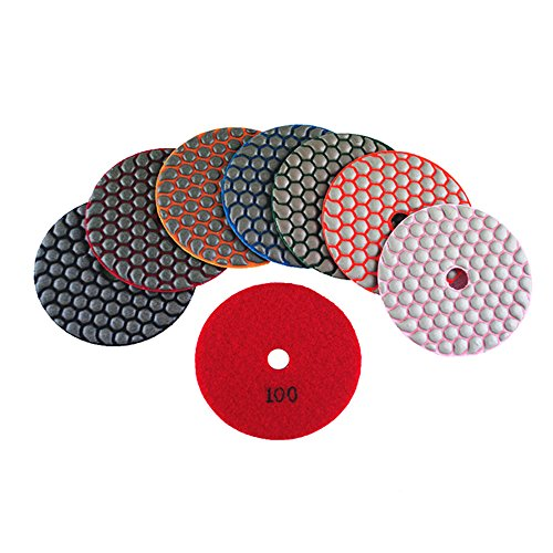 nd Polishing Pads 4 Inch Premium Matte Grinding Pads for Concrete Marble Granite 7 PCS Grit 50-3000# (4inch,7pcs) ()