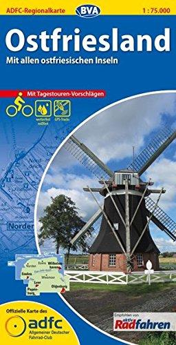 ADFC-Regionalkarte Ostfriesland mit Tagestouren-Vorschlägen, 1:75.000, reiß- und wetterfest, GPS-Tracks Download: Mit allen ostfriesischen Inseln (ADFC-Regionalkarte 1:75000)