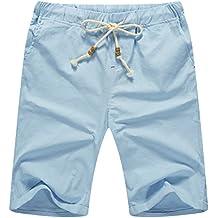 ZYFAMILY Men's Linen Casual Classic Fit Drawstring Summer Beach Shorts