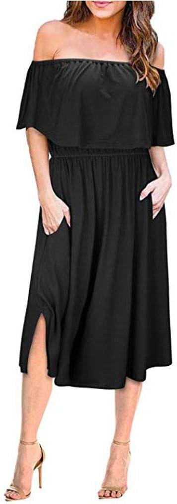 Vestidos de Fiesta de Verano con Hombros Descubiertos para Mujer Vestido Largo de Playa con Abertura Lateral
