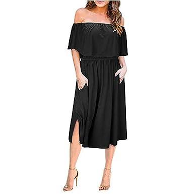 4ea3b89b69 Women Dresses Off Shoulder Summer Ruffle Short Sleeve Side Split Solid  Casual Midi Dress with Pocket