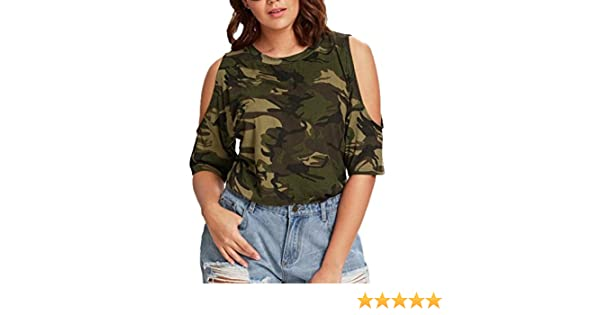 5b5585fb5 Amazon.com: Plus Size Women's Cold Shoulder Camo Longer T-Shirt Military  Short Sleeve Tee Tops: Clothing