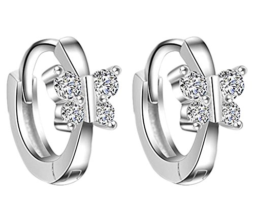 ngs Butterfly Hinged Small Hoop Earrings Elegant Earrings in Silver Plated ()