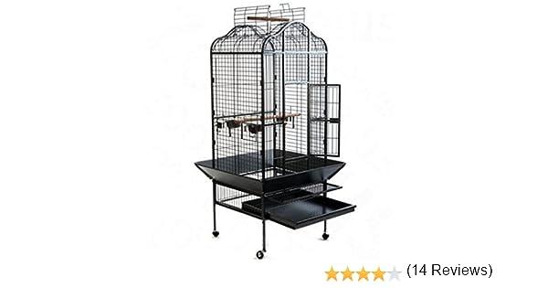 Elegante y Chic Metal loro jaula de pájaros en un diseño oriental ...