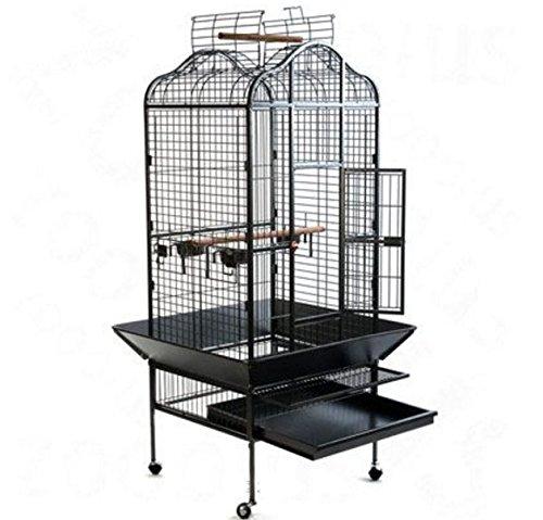 eCommerce Excellence Papageienkäfig/Vogelkäfig, aus Metall, elegantes orientalisches Design, mit praktischer Schmutzauffangwanne