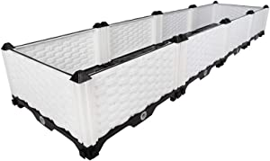 Hershii Plastic Rectangular Raised Garden Bed Indoor Outdoor Planter Box Kit Container for Growing Vegetables, Plants, Herbs, Flowers & Succulents - White - 61.41 X 15.35 X 8.66 Inches