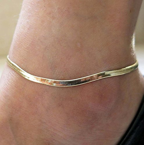 HuntGold 1X Novelty Lady Jewelry Ankle Plated Chain Lovely Adjustable Anklet(Gold)