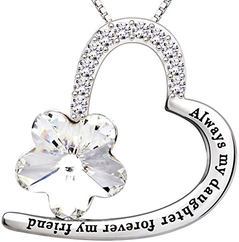 ALOV Jewelry Sterling Silver Always My Daughter Forever My Friend Love Heart Crystal Cubic Zirconia Pendant Necklace