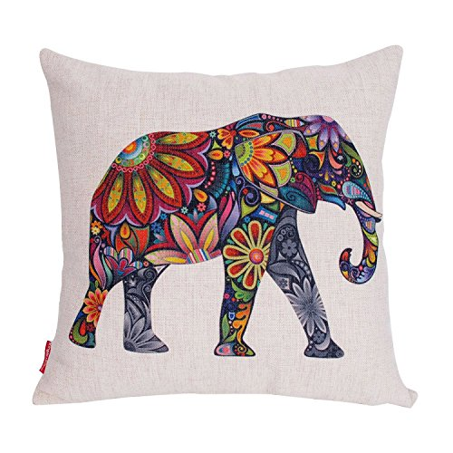 Kingla Home Square Pillowcase Cotton Linen Decorative Throw Pillow Covers 18 X 18 Inch Colorful Cute Elephant Cushion Covers for Sofa