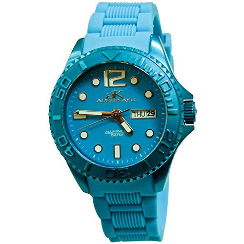 Adee Kaye Women's Alluminio 37mm Blue Silicone Band Aluminium Case Quartz Analog Watch AK5433-L-BU