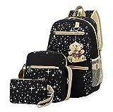 #8: Urmiss Girls' Star Canvas Backpack Set 3 Pieces Patterned Bookbag Laptop School Backpack