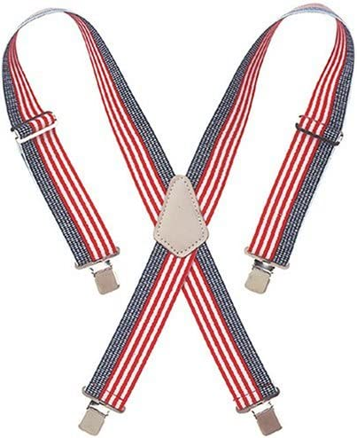 New in box Men/'s convertible elastic suspender american flag red white blue
